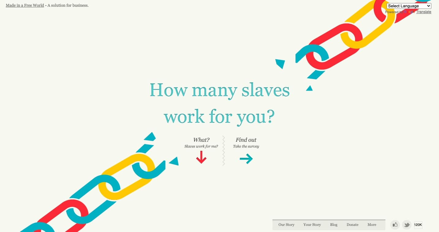 Slavery Footprint - futuristic website