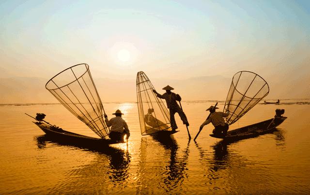 Vietnamese fisherman at sea